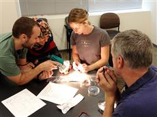 RET teacher Aubrey Wachtel tests her solar cell with the help of graduate students Steve McKeown and Mahsa Kamali. (RET teacher Dan Reid looks on.)