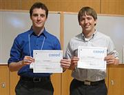 Members of the Contendable team at the awards ceremony were Zachary Tratar (left) and Jason Febery. Team member Robert Grzyb was unavailable for the photo.