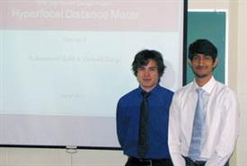 Donald Darga (left) and Mohammad Malik won second place at Texas Instruments' Analog University Design Contest for their Senior Design project.