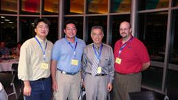 ECE Professor K.Y. Norman Cheng (third from left) attended the North American MBE conference with three of his current and former students. They are, from left, Keith Liao , Barry Wu of Agilent, and Greg Pickrell of Applied Optoelectronics.