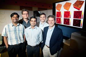 University of Illinois engineers developed a method to computationally correct aberrations in three-dimensional tissue microscopy. From left, postdoctoral researcher Steven Adie, ECE Associate Professor P. Scott Carney, ECE graduate students Adeel Ahmad and Benedikt Graf, and ECE Professor Stephen Boppart. Photo by L. Brian Stauffer.