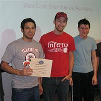 The team of (from left) Alex Crisci, Evan Schrock, and Ryan Mancl developed a wireless optical piano.
