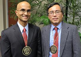 Recently, Naresh Shanbhag (left) was invested as the Jack S. Kilby Professor of Electrical and Engineering, and Martin D. F. Wong was invested as the Edward C. Jordan Professor of Electrical and Computer Engineering.