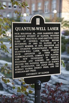 A plaque commemorating ECE Professor Nick Holonyak�s invention of the quantum-well laser now stands in the footprint of the old Electrical Engineering Research Laboratory.