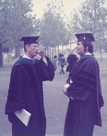 Rene Cruz (right) and father Jose, an ECE emeritus professor, at Rene's 1987 PhD graduation on the Illinois campus. 'He was an easygoing fellow, very low key, humble,' said Jose Cruz. 'He liked simple things in life.' (photo courtesy Jose B. Cruz)