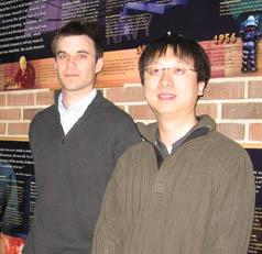 ECE grad student John Wright, pictured with his adviser, ECE Associate Professor Yi Ma, is a recipient of the coveted Microsoft Research Fellowship.