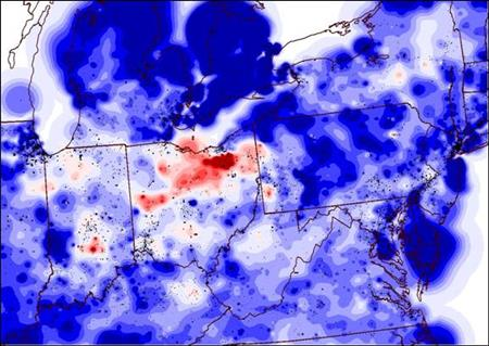 Figure 2 shows a contour of the voltages in the electric power grid during the August 14 th blackout. The red areas in Northern Ohio are used to vividly show the low voltages in that area.