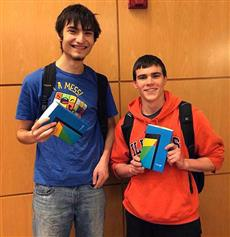 ECE freshman Zach Smith (right) and CS freshman Joel Einbinder won the Facebook Midwest Regional Hackathon.