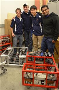 From L-R: Matt Birkel, Ian Weivoda, Ben Kuo, and Ahmed Sulaiman (iRobotics and EFC).