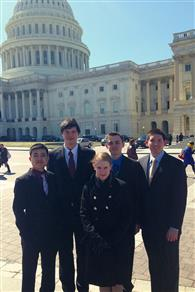 Illinois students in Washington D.C. (L-R): Braven Leung, Anthony Shvets, Gloria See, Lucas Hendren, and Miguel Moscoso. Not pictured: Alexander Hsu and Abhinav Chevula.