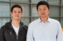The glucometer wristband team (L-R): Jonathan Fajardo Cortes and Assistant Professor Gang Logan Liu. Not pictured: Antonius Bramm.
