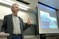 Martin Eberhard gives the College of Engineering's Dean's Distinguished Leadership Lecture in April at Everitt Lab.