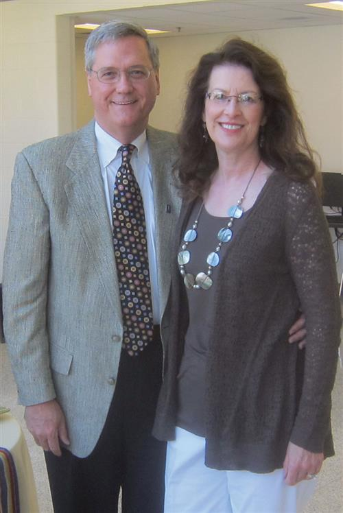 Bob and Deana Dodds at Bob's retirement reception in the Yeh Student Center in 2012